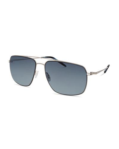 Men's Square Aviator Sunglasses, Silver