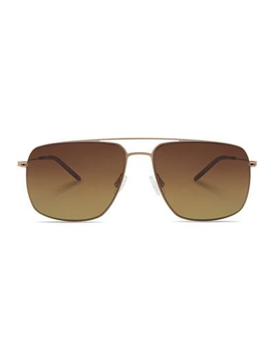 Men's Square Aviator Sunglasses, Gold