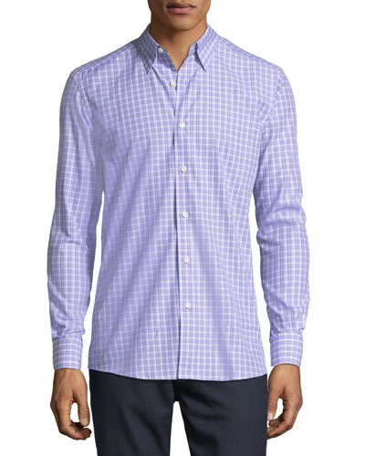 Cotton Check-Print Shirt, Lavender