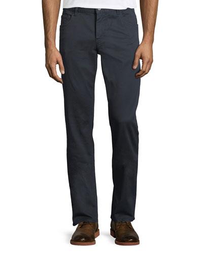 5-Pocket Straight-Leg Twill Denim Pants
