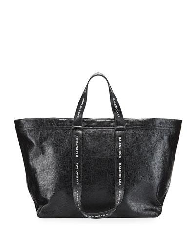 Logo-Strap Carry Shopper Bag