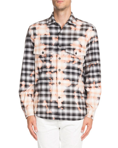 Bleach-Distressed Plaid Shirt