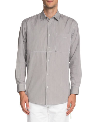Men's Striped Convertible Sport Shirt