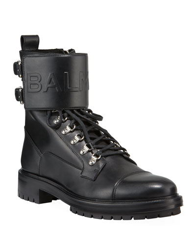 Logo-Embossed Leather Military Boot