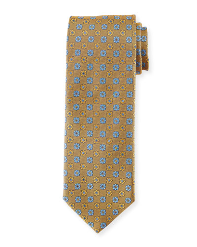 Alternating Flowers Silk Tie, Yellow