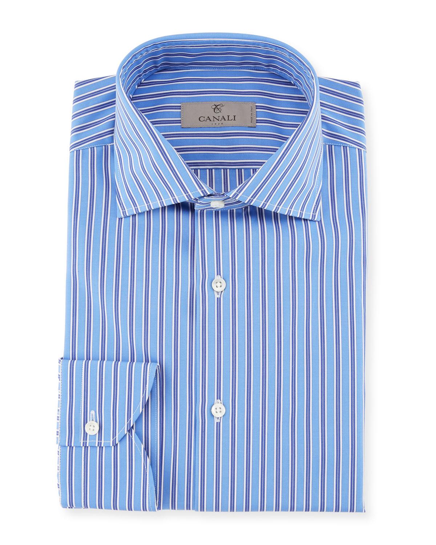 Contrast Striped Dress Shirt, Blue