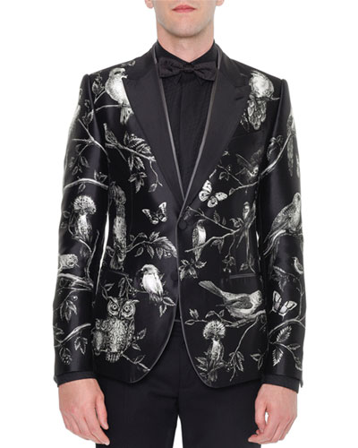 Forest-Print Silk Evening Jacket, Black/White