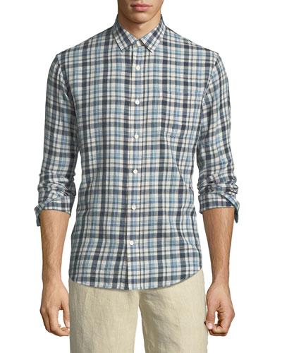 Multi-Plaid Sport Shirt, White/Blue