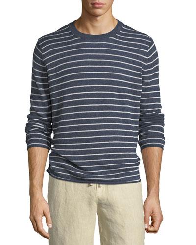 Striped Linen Crewneck Sweater