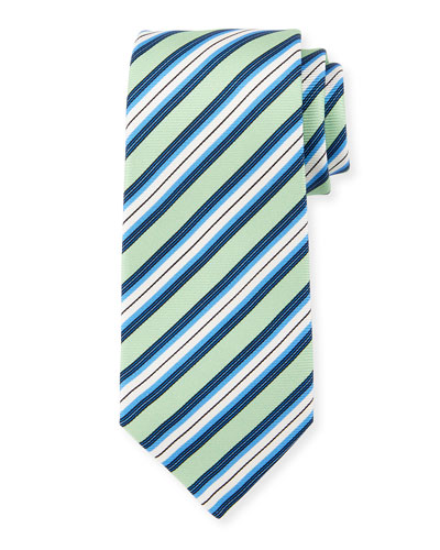 Multi-Stripe Silk Tie, Lime