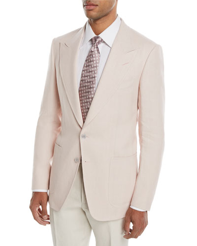 Shelton Peak Patch Two-Button Linen Blazer