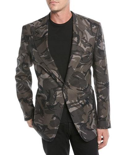 Men's Camouflage-Print Linen Two-Button Jacket