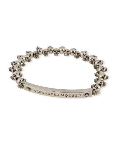 Men's Brass Mini-Skull Bead Bracelet