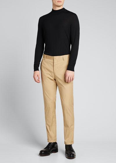 Men's Poplin Cotton Straight-Leg Pants