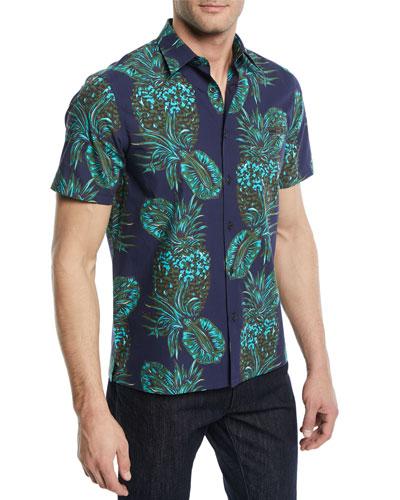 Pineapple-Print Short-Sleeve Sport Shirt