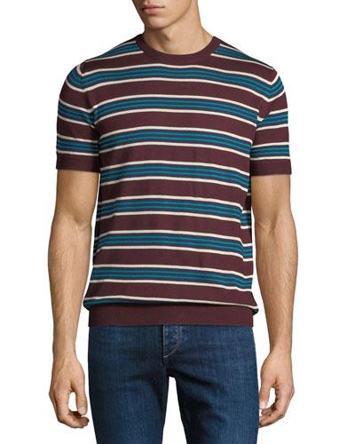 Striped Silk-Blend Short-Sleeve Sweater