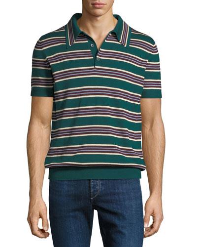 Striped Silk-Blend Polo Sweater