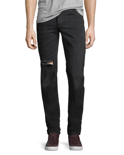 Japanese Denim Straight-Leg Distressed Jeans