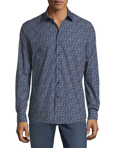 Men's Gancio-Print Sport Shirt