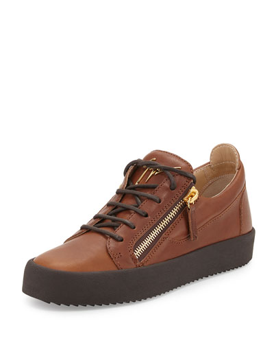 Men's Leather Low-Top Sneaker, Light Brown