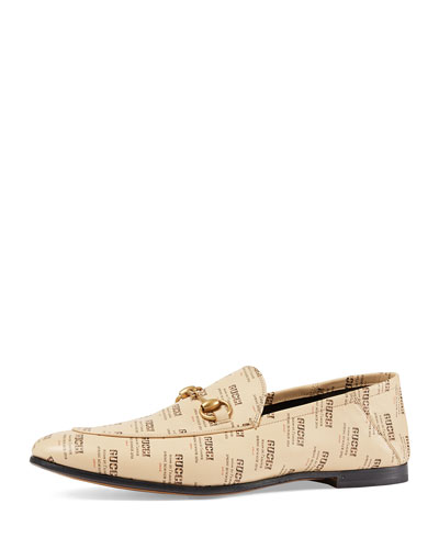 Leather Gucci Invite Print Loafer