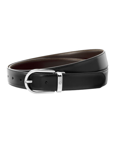 Men's Horseshoe-Buckle Reversible Leather Belt