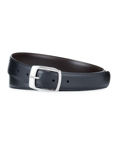 Men's Rectangular-Buckle Reversible Leather Belt