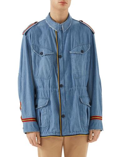 Guccy Striped-Trim Denim Parka Jacket