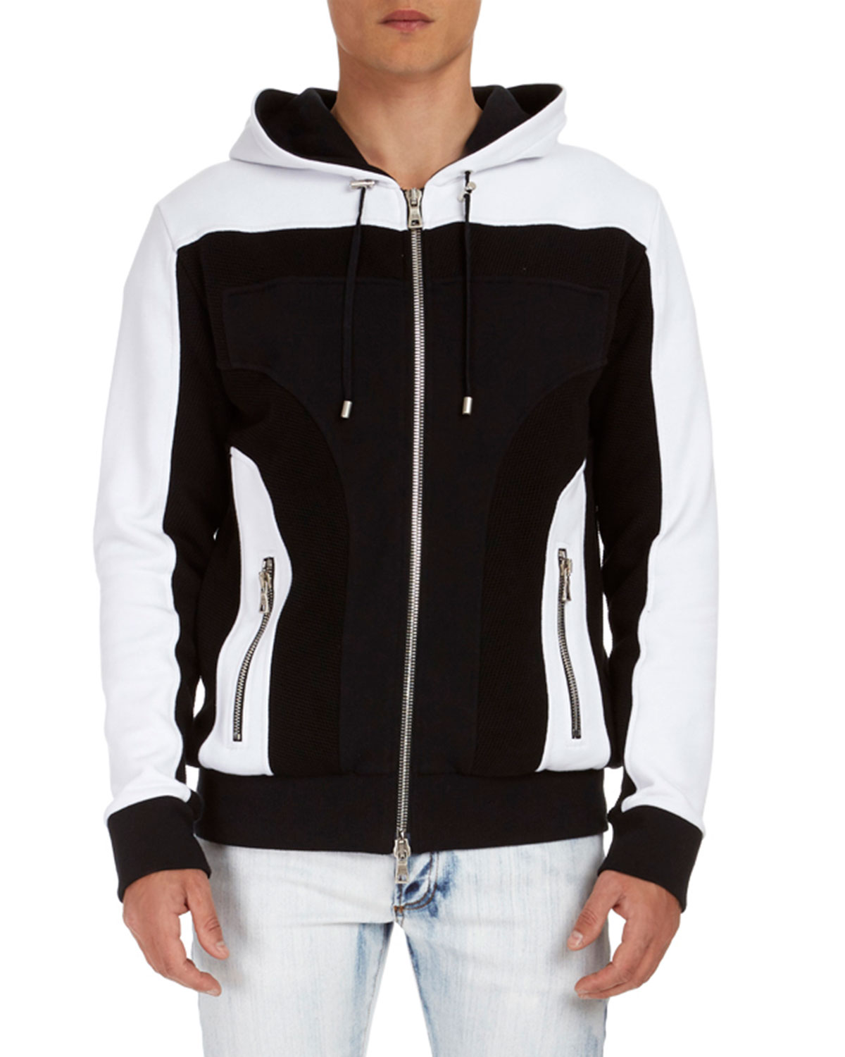 Colorblock Cotton Zip-Front Hoodie