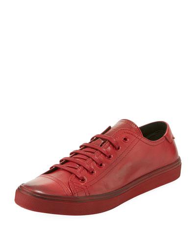 Men's Distressed Jersey Leather Low-Top Sneakers