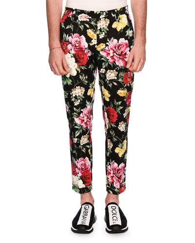 Floral-Print Skinny Twill Pants