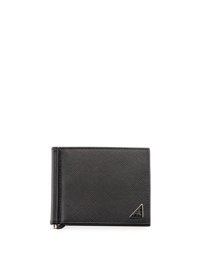Saffiano Triangolo Wallet with Money Clip