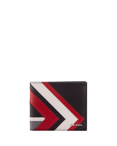 Saffiano Surf Colorblock Leather Bi-Fold Wallet