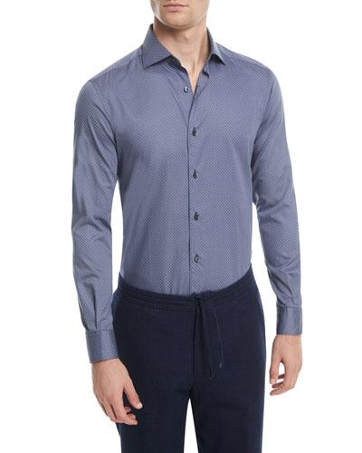 Micro-Print Sport Shirt, Dark Blue