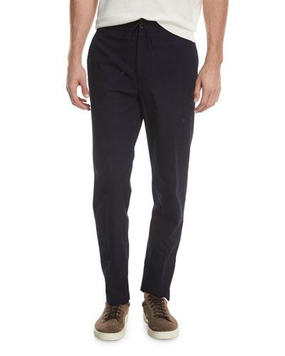 Solid Cotton Seersucker Pants