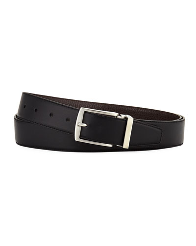 Dual-Textured Leather Belt