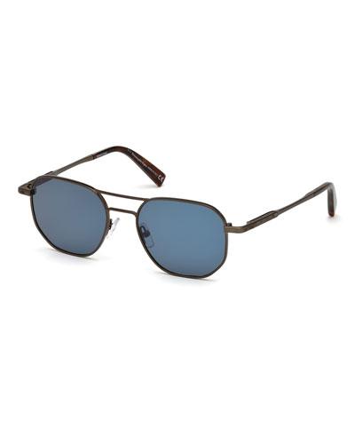 Square Metal Aviator Sunglasses, Blue Pattern