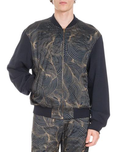 Hugler Swirl-Front Embroidered-Back Jacket