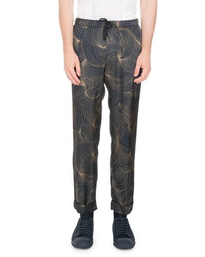 Perkino Swirl-Print Drawstring-Waist Pants