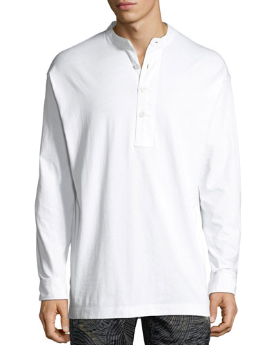 Mandarin-Collar Long-Sleeve Jersey Shirt
