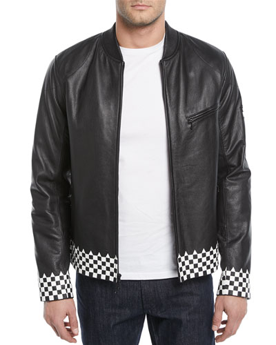 Checker-Trim Leather Biker Jacket