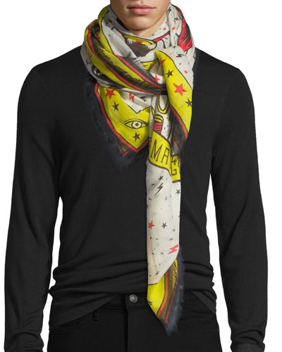 Magician-Print Cotton Shawl Scarf