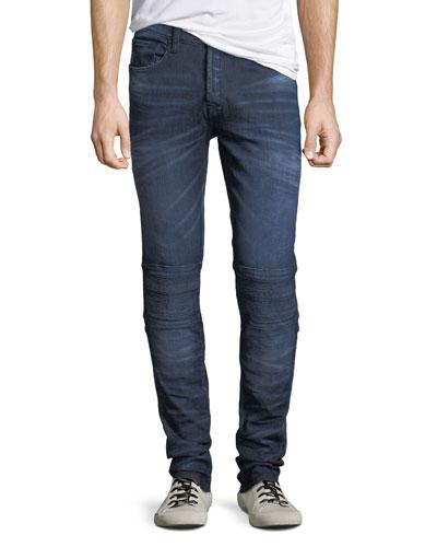 Dark-Wash Tapered Moto Jeans