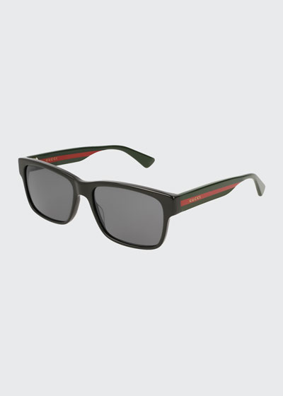 9f611c4fc10 Square Acetate Sunglasses with Signature Web
