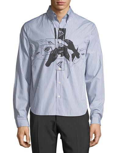 Eyes-Graphic Striped-Poplin Sport Shirt