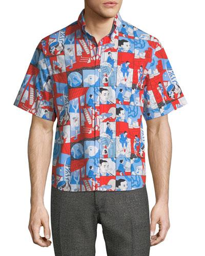 Graphic-Print Short-Sleeve Sport Shirt