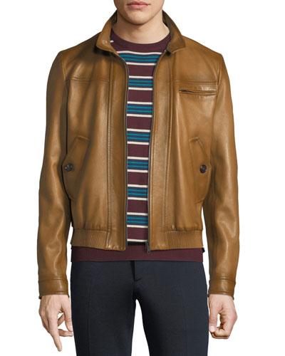 Napa Leather Zip-Front Bomber Jacket