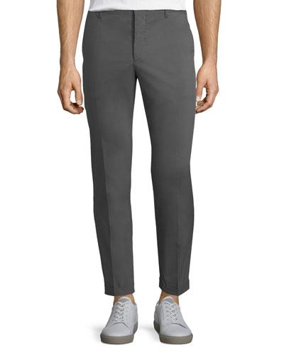 Cotton-Blend Straight-Leg Pants