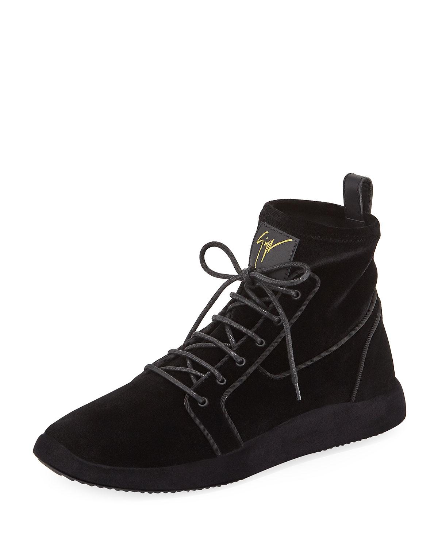 8a7fba5f10caa Giuseppe Zanotti Men S Land High-Top Velvet Sneakers In Black
