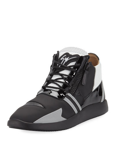 Men s Runner Mid-Top Perforated-Leather Sneakers 431327ae897